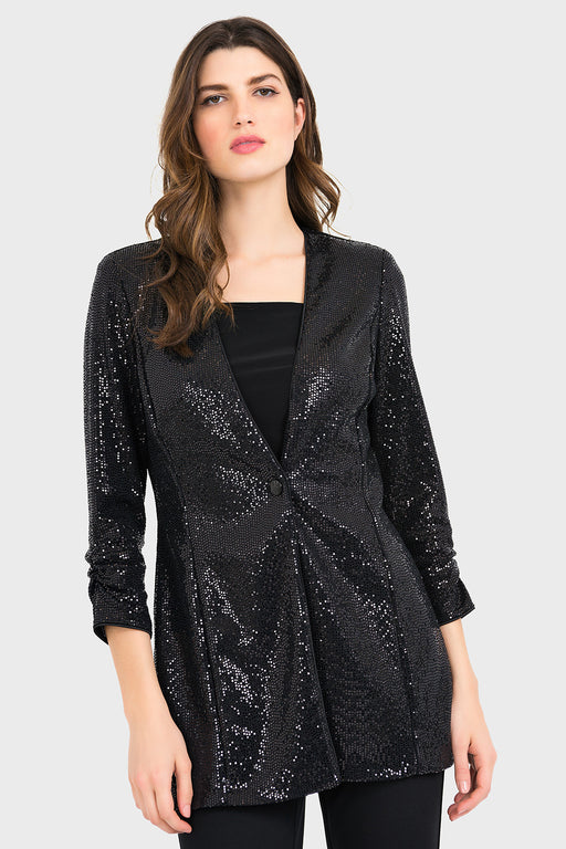 Joseph Ribkoff Black Sequined 3/4 Sleeve Jacket 194535 NEW