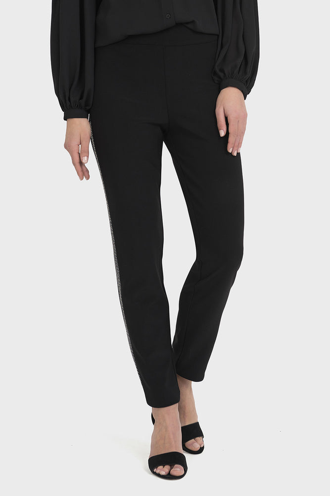Joseph Ribkoff Style 194537 Black Silver Sequins Stripe Slip-On Pants