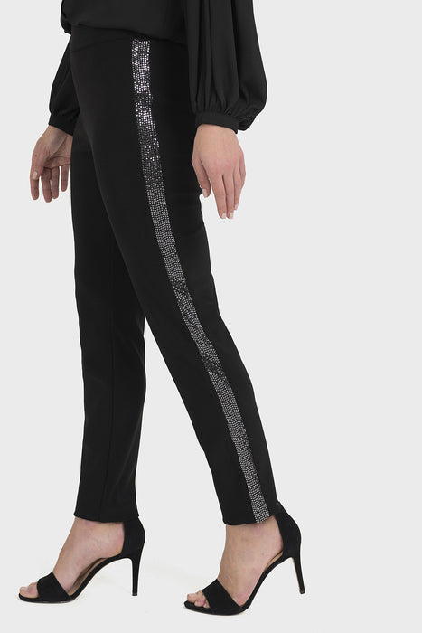 Joseph Ribkoff Black/Silver Sequins Stripe Slip-On Pants 194537 NEW