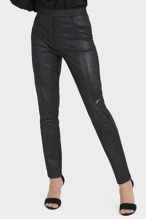 Joseph Ribkoff Style 194557 Black Silver Metallic Sequin Accent Ankle Pants