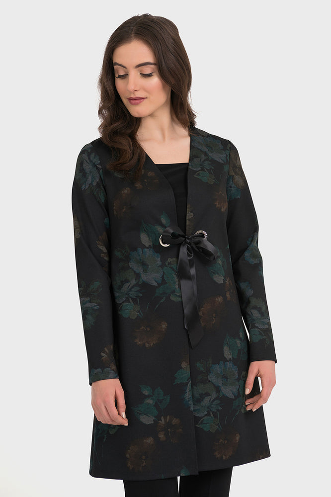 Joseph Ribkoff Style 194638 Black Multicolor Floral Print Tie Closure Cover-Up Jacket