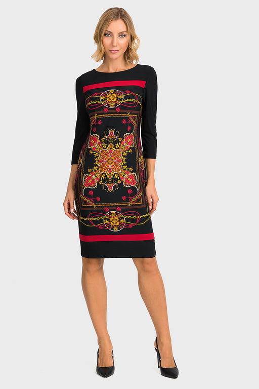 Joseph Ribkoff Style 194652 Black Multicolor Baroque Print 3/4 Sleeve Sheath Dress