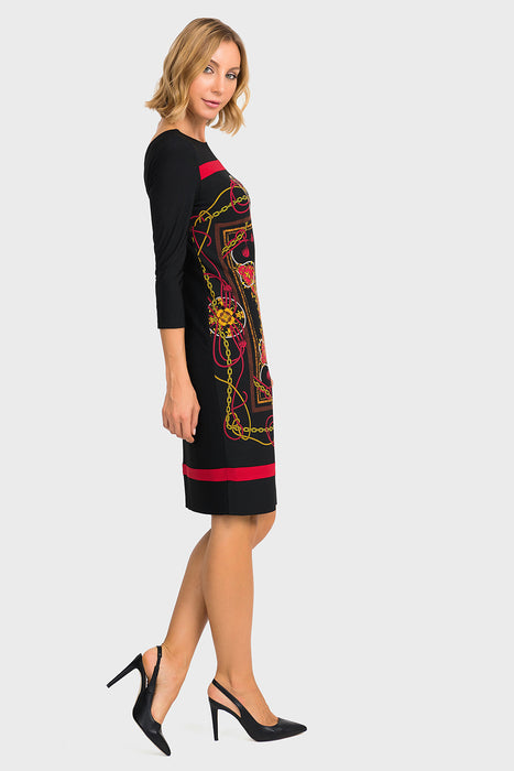 Joseph Ribkoff Black/Multi Baroque Print 3/4 Sleeve Sheath Dress 194652 NEW