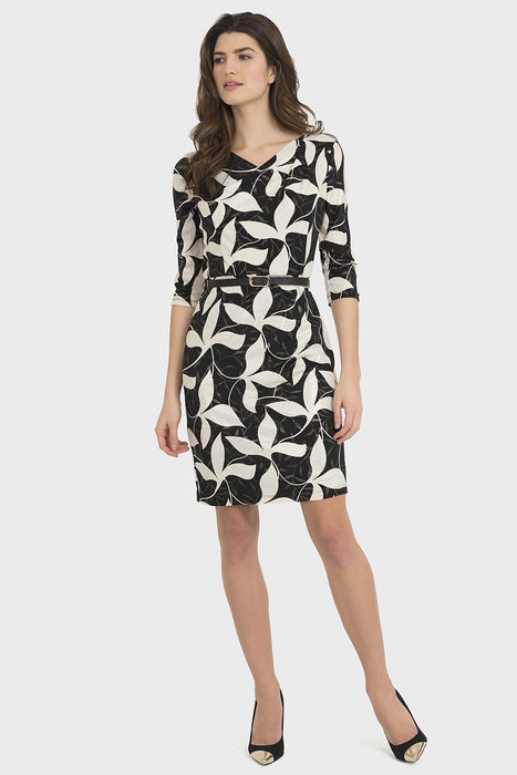 Joseph Ribkoff Style 194672 Black Gold Floral Print Belted Sheath Dress