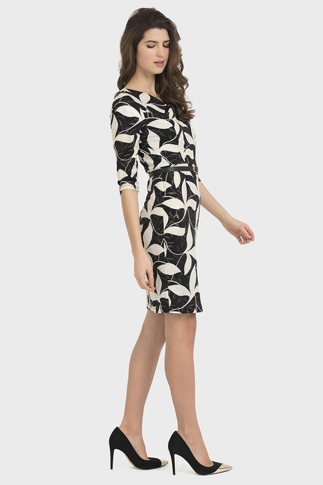 Joseph Ribkoff Black/Gold Floral Print Belted Sheath Dress 194672 NEW