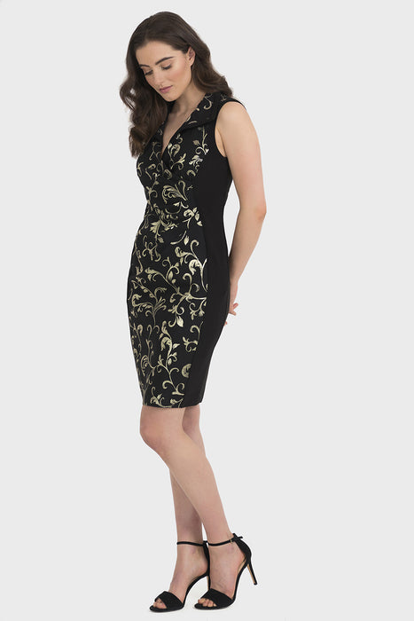 Joseph Ribkoff Black/Gold Vine Print Ruched Sheath Dress 194772 NEW