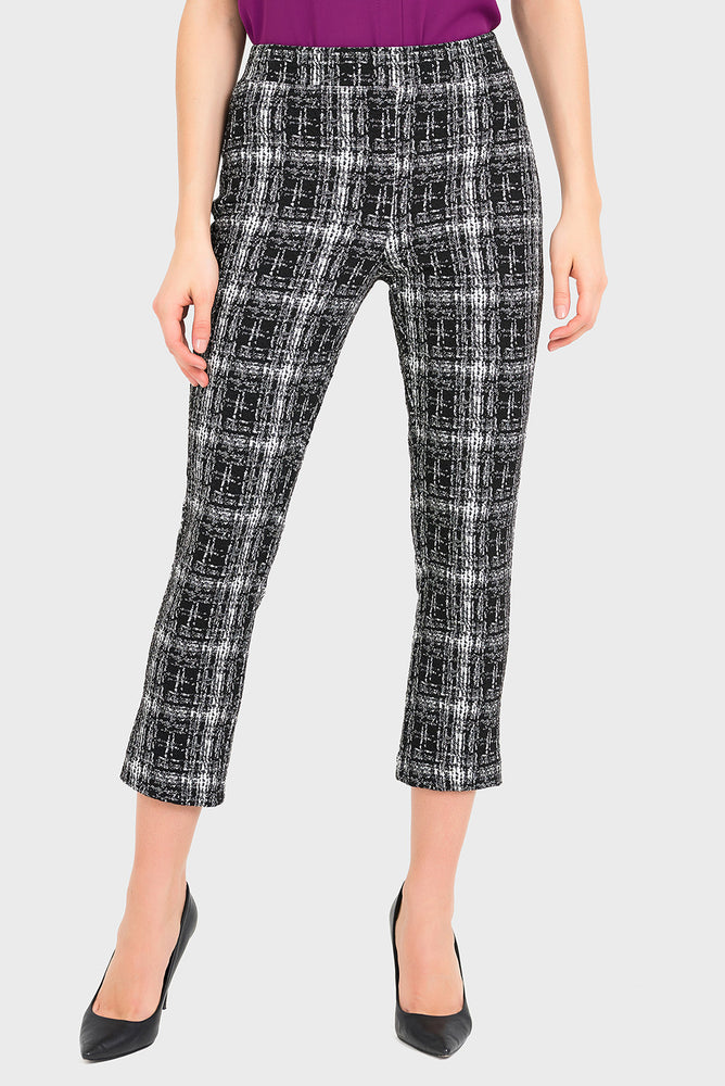 Joseph Ribkoff Style 194807 Black White Tweed-Look Slip-On Capri Pants