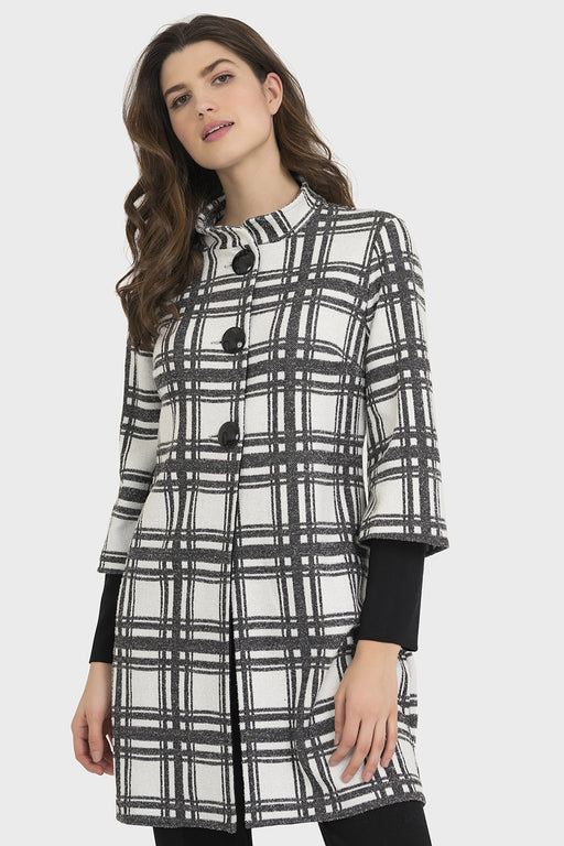 Joseph Ribkoff White/Black Plaid Knit Pea Coat Jacket 194836 NEW