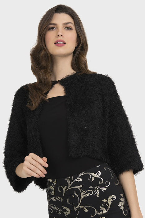 Joseph Ribkoff Style 194892 Black Textured Sequin Accent Cropped Bolero Jacket