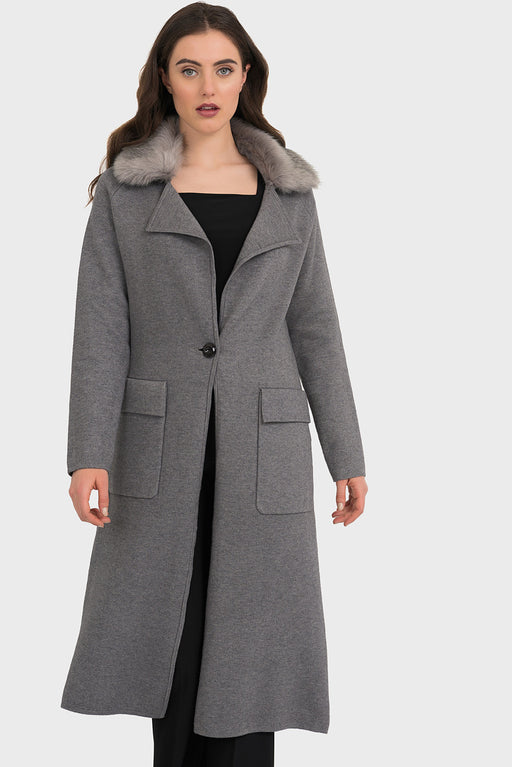 Joseph Ribkoff Style 194917 Grey Faux Fur Collar Long Sleeve Long Coat Jacket