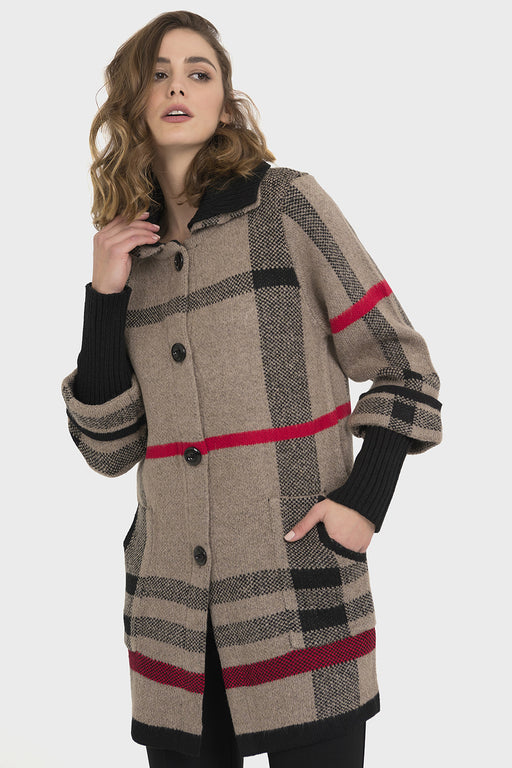 Joseph Ribkoff Style 194918 Multicolor Plaid Button-Down Pea Coat