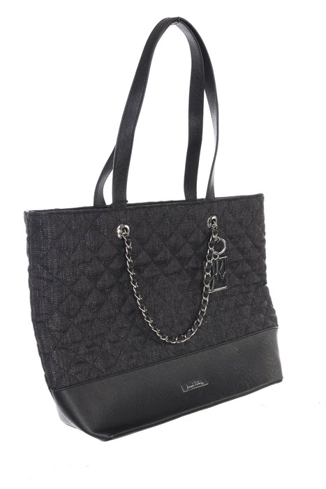 Joseph Ribkoff Black/Gold Plaid Quilted Chain Link Detail Faux Leather Fabric Mix Tote Bag 194995 NEW