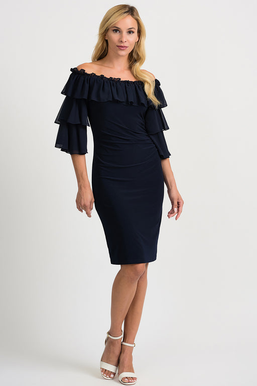 Joseph Ribkoff Style 201002 Midnight Blue Tiered Ruffle Off-Shoulder Cocktail Dress