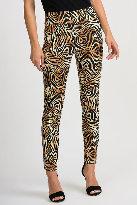 Joseph Ribkoff Style 201022 Black Beige Animal Print Slip-On Cropped Pants