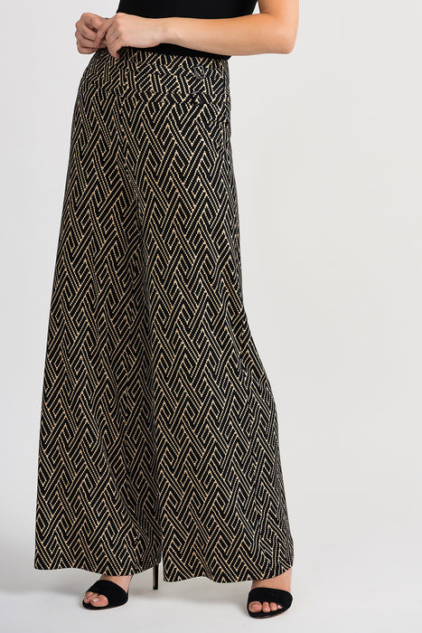 Joseph Ribkoff Style 201034 Black Beige Geometric Print Slip-On Flared Pants