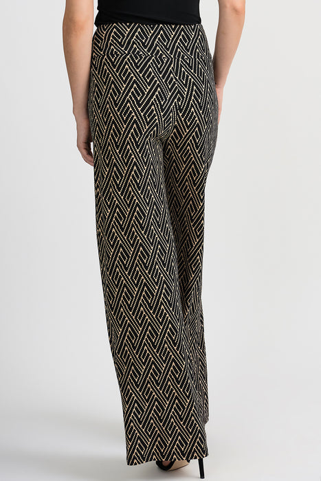 Joseph Ribkoff Black/Beige Geometric Print Slip-On Flared Pants 201034 NEW