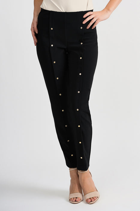 Joseph Ribkoff Style 201038 Black Button Accent Slip-On Tapered Pants
