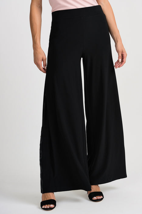 Joseph Ribkoff Style 201041 Black Ribbon Inset Slip-On Palazzo Pants