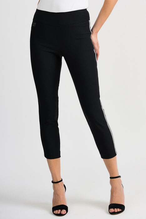 Joseph Ribkoff Style 201047 Black Metallic Striped Slip-On Capri Pants