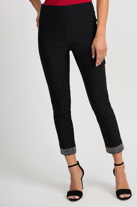Joseph Ribkoff Style 201054 Black Embellished Cuffs Slip-On Cropped Pants