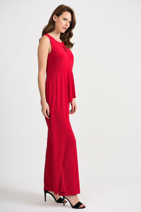 Joseph Ribkoff Lipstick Red Keyhole Neck Ruffled Drape Jumpsuit 201073 NEW