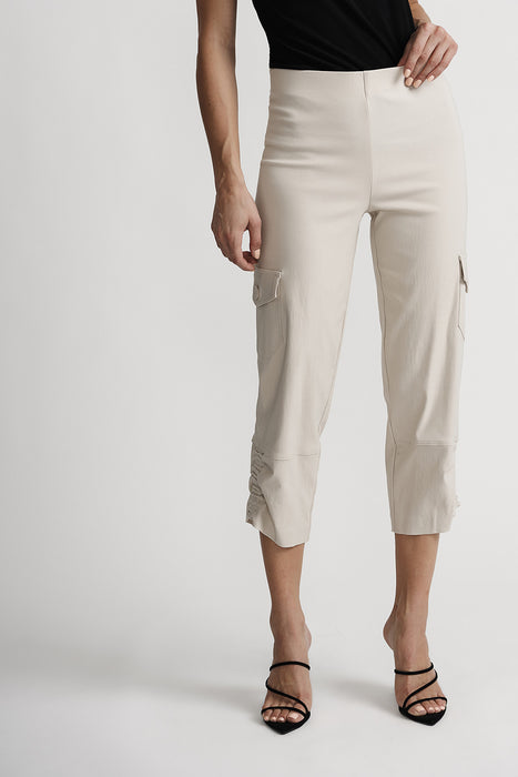 Joseph Ribkoff Style 201076 Champagne Ruched Slip-On Cropped Cargo Pants