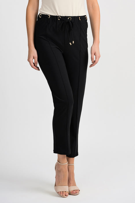 Joseph Ribkoff Style 201080 Black Grommet Accent Pleated Cropped Pants
