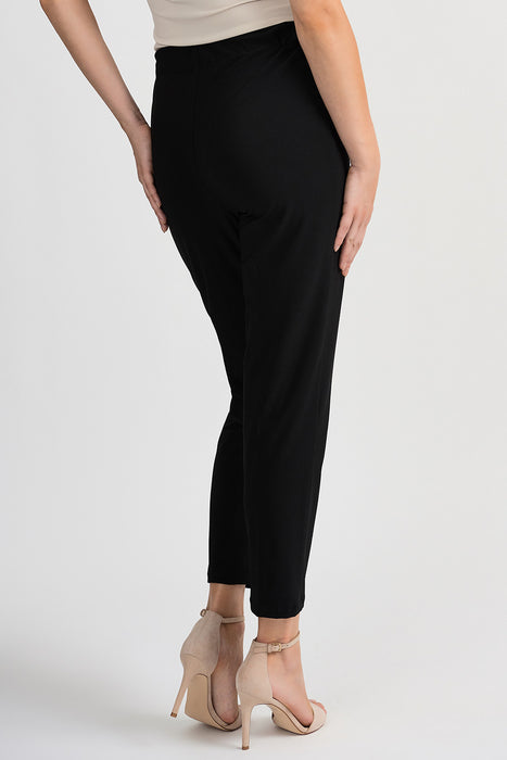Joseph Ribkoff Black Grommet Accent Pleated Cropped Pants 201080 NEW