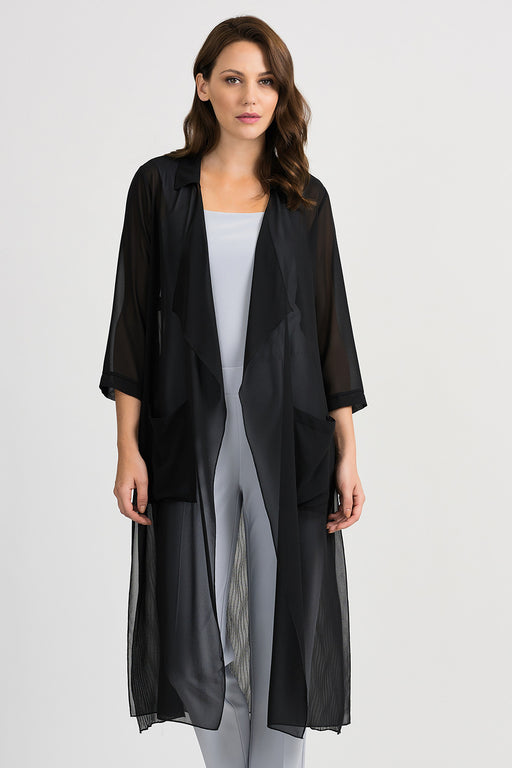 Joseph Ribkoff Style 201084 Black Sheer Open Front Long Cardigan
