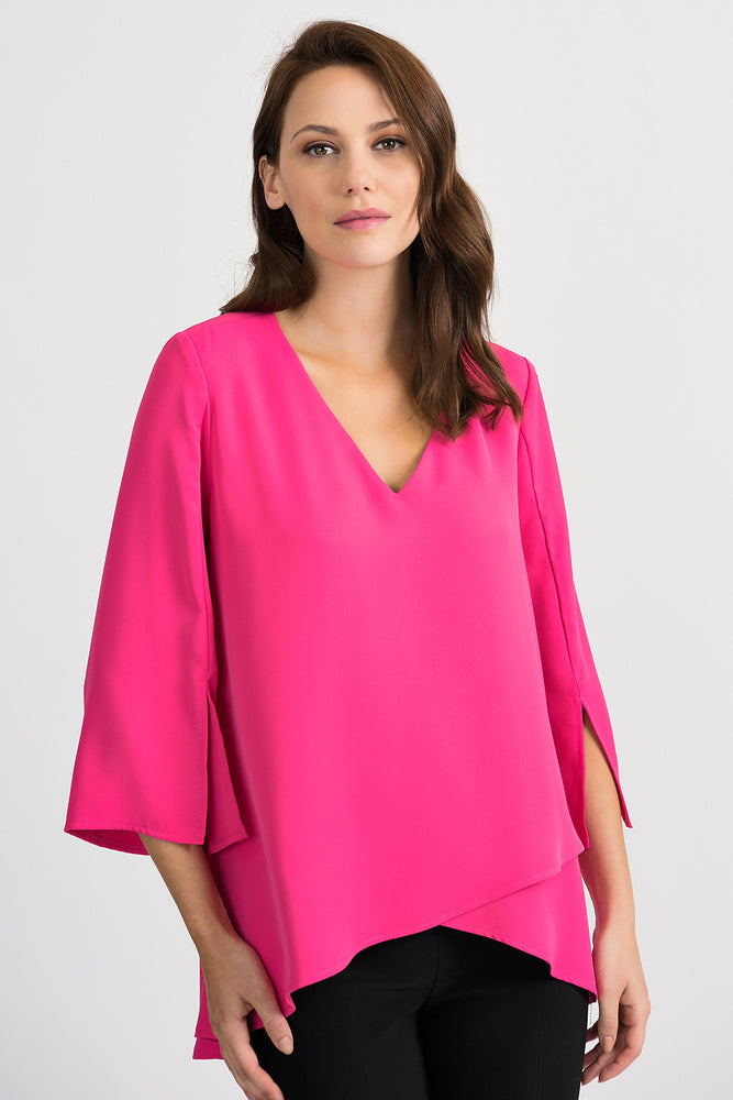 Joseph Ribkoff Style 201085 Hyper Pink Overlap Front 3/4 Sleeve Blouse