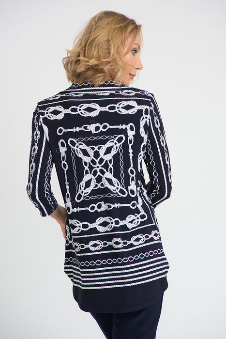 Joseph Ribkoff Midnight Blue/Vanilla Rope Print 3/4 Sleeve Blouse 201089 NEW