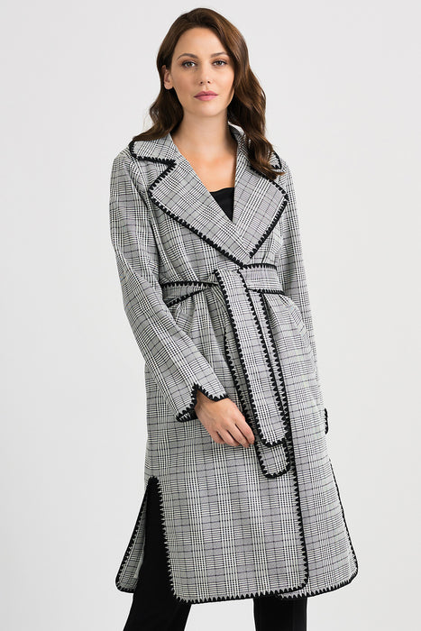 Joseph Ribkoff Style 201092 Beige/Black Plaid Belted Long Sleeve Trench Coat