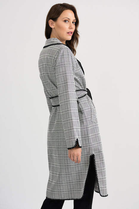 Joseph Ribkoff Beige/Black Plaid Belted Long Sleeve Trench Coat 201092 NEW