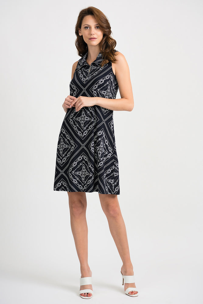 Joseph Ribkoff Style 201114 Midnight Blue Vanilla Nautical Print Sleeveless Shift Dress