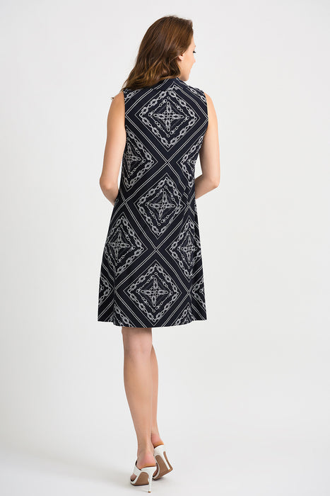 Joseph Ribkoff Midnight Blue/Vanilla Nautical Print Sleeveless Shift Dress 201114 NEW