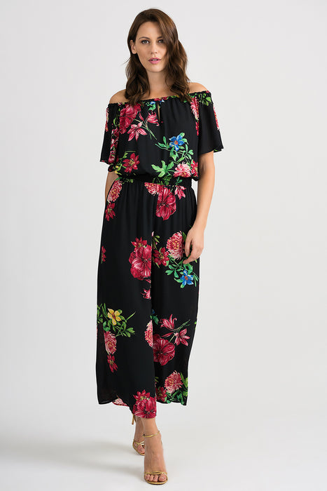 Joseph Ribkoff Style 201116 Black Multicolor Floral Print Off-Shoulder Wide Leg Jumpsuit