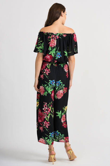 Joseph Ribkoff Black/Multi Floral Print Off-Shoulder Wide Leg Jumpsuit 201116 NEW