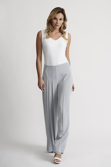 Joseph Ribkoff Grey Frost Pleated Wide Leg Pants 201117 NEW