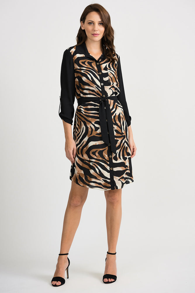 Joseph Ribkoff Style 201118 Black Beige Animal Print Button-Down Tunic Dress