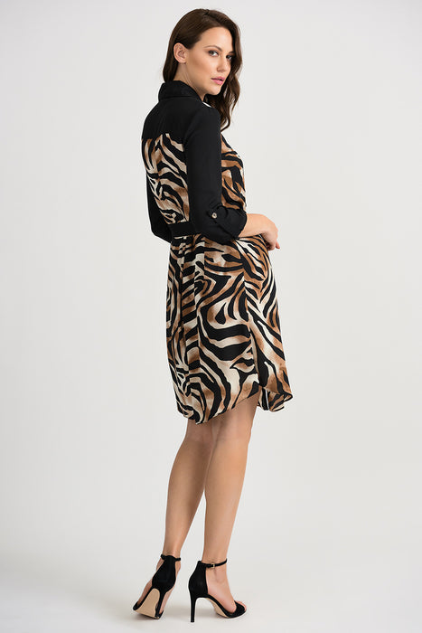 Joseph Ribkoff Black/Beige Animal Print Button-Down Tunic Dress 201118 NEW