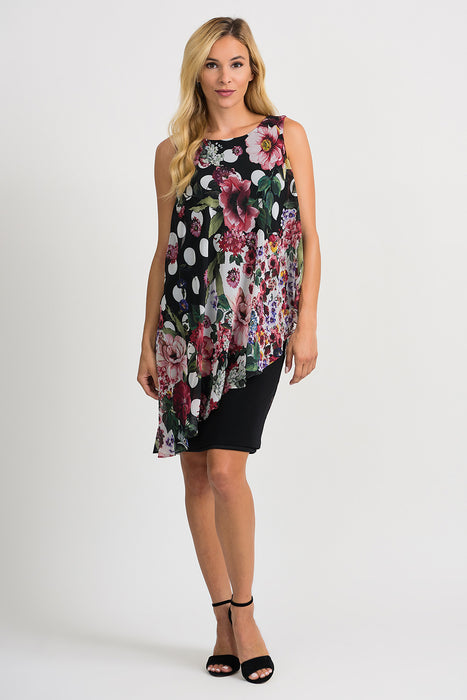 Joseph Ribkoff Style 201122 Black Multicolor Floral Polka Dot Overlay Sleeveless Sheath Dress