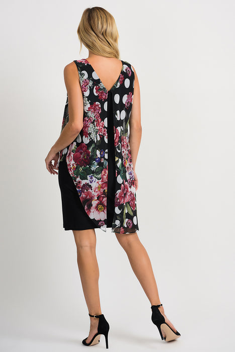 Joseph Ribkoff Black/Multi Floral Polka Dot Overlay Sleeveless Sheath Dress 201122 NEW