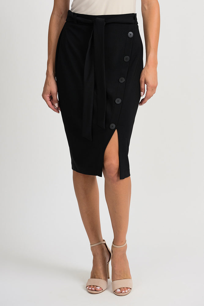 Joseph Ribkoff Style 201137 Black Belted Button Accent Slitted Pencil Skirt
