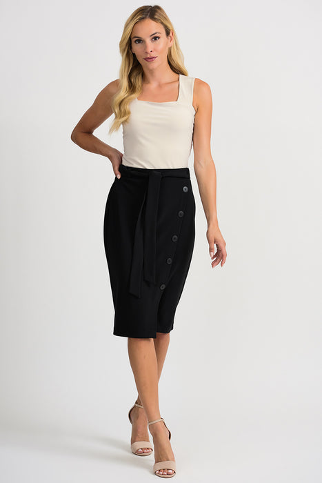 Joseph Ribkoff Black Belted Button Accent Slitted Pencil Skirt 201137 NEW