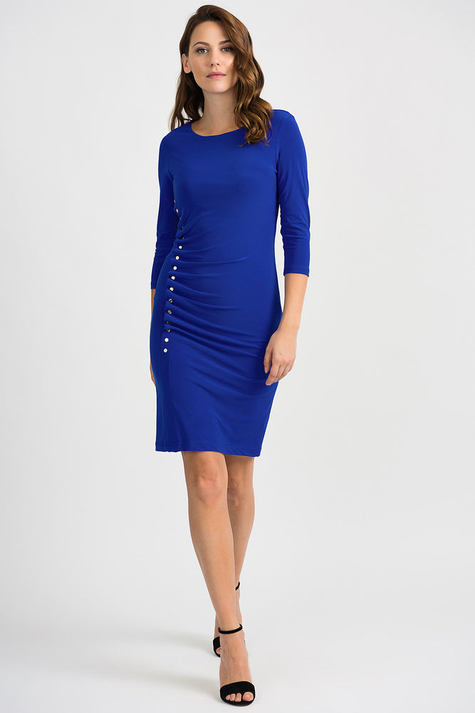 Joseph Ribkoff Style 201140 Royal Sapphire Button Accent Ruched Sheath Dress