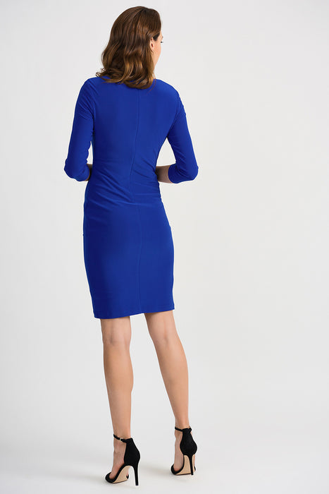 Joseph Ribkoff Royal Sapphire Button Accent Ruched Sheath Dress 201140 NEW