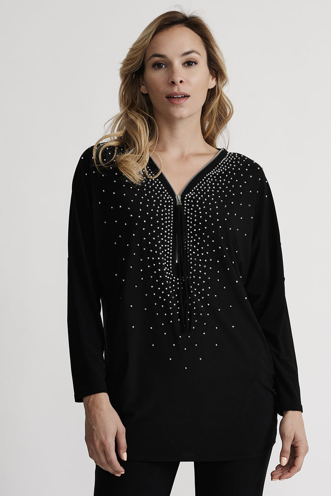 Joseph Ribkoff Style 201145 Black Studded Zip Front Long Sleeve Top