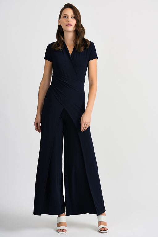 Joseph Ribkoff Style 201146 Midnight Blue V-Neck Crossover Detail Flared Leg Jumpsuit