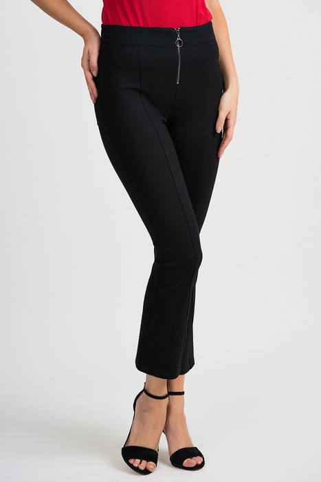 Joseph Ribkoff Style 201151 Black Pleated Zipper Front Flared Cropped Pants