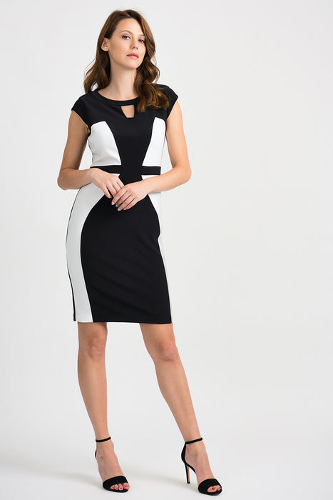 Joseph Ribkoff Style 201156 Black Vanilla Color Block Cap Sleeve Sheath Dress